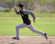 GLENDALE, ARIZONA - FEBRUARY 20:  Charlie Tilson #22 of the Chicago White Sox runs the bases during a spring training workout February 20, 2018 at Camelback Ranch in Glendale Arizona.  (Photo by Ron Vesely)  Subject:   Charlie Tilson