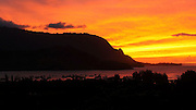 Sunset, Hanalei Bay Lookout, Kauai, Hawaii