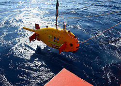ABOARD KEXUE VESSEL, July 24, 2017  China's self-developed underwater remote submersible Kexue is prepared to dive during its first experimental operation in the South China Sea. It is expected to stay underwater for 20 hours. (Credit Image: © Zhang Xudong/Xinhua via ZUMA Wire)