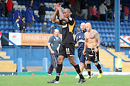 Newport County's Chris Zebroski acknowledges the traveling fans at the end of the game against Bury. Skybet Football League two match, Bury v Newport county at Gigg Lane in Bury on Saturday 5th Oct 2013. pic by David Richards, Andrew Orchard sports photography,
