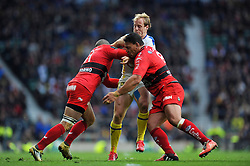 Nick Abendanon of Clermont Auvergne is tackled - Photo mandatory by-line: Patrick Khachfe/JMP - Mobile: 07966 386802 02/05/2015 - SPORT - RUGBY UNION - London - Twickenham Stadium - ASM Clermont Auvergne v RC Toulon - European Rugby Champions Cup Final