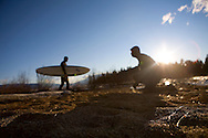 Brennan Lagasse and Jeff Dostie gear up for a surf session in Lake Tahoe's, Emerald Bay.