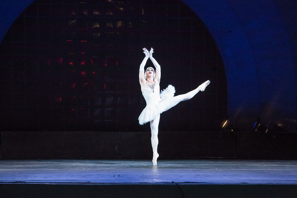 Odette, the swan, dances en pointe. The dancers in the troupe, all men, wore tutus for the female roles, but did not shave their chest or armpit hair.
