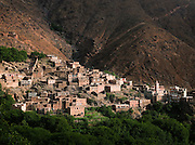 A small berber village in the hills of the Imlil Valley at Toubkal National Park, Morocco