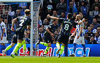 BRIGHTON, ENGLAND - MAY 12:     Aymeric Laporte (14) of Manchester City celebrates scoring a goal to make the score 1-2 during the Premier League match between Brighton & Hove Albion and Manchester City at American Express Community Stadium on May 12, 2019 in Brighton, United Kingdom. (MB Media)