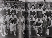 Wexord-All-Ireland Hurling Champions 1955. Back Row: Kevin Sheehan, Padge Kehoe, Jim Morrissey, Martin Codd,  Nicky Rackard, Tom Ryan, Ted Bolger, Oliver Gough, Billy Wickham, Mick Hanlon, Tom Dixon, Harry O'Connor, Ned Wheeler. Front Row: Tim Russell, Tim Flood, Bobby Rackard, Jim English, Paddy Kehoe, Mick Morrissey, Nick O'Donnell (capt), Art Foley, Chris Casey, Billy Rackard, Dan Aherne, Seamus Hearne.