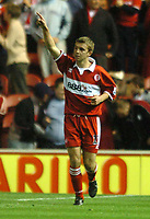 Photo: Back Page Images. 27/10/2004.<br /> Carling Cup. Middlesbrough v Coventry City. The Riverside Stadium.<br /> <br /> James Morrison celebrates his goal Boro's second of the night