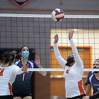 Gallup's Lynda Mike (8) sets up Jordan Joe (11) for a spike in their match against Miyamura at Gallup High School Thursday night in Gallup. The Gallup Bengals had a 22-25, 25-23, 25-22, 25-14 victory over the Miyamura Patriots.