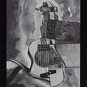 """Title: Guitar<br /> Artist: Shane Han<br /> Date: 2015<br /> Medium: India ink<br /> Instructor: Jill Trasher<br /> Dimensions: 10 x 13""""<br /> Status: On Display<br /> Location: Eastview Campus, Building 8000, Rm 8203, Health Sciences Division"""