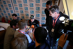 Team Dimension Data rider Mark Cavendish is interviewed during the press conference for the Tour de Yorkshire at Leeds Civic Hall.