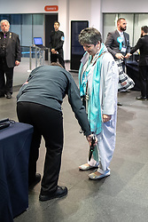 © Licensed to London News Pictures . 26/05/2019. Manchester, UK. Brexit Party's CLAIRE FOX is searched with an electronic wand as she arrives . The count for seats in the constituency of North West England in the European Parliamentary election , at Manchester Central convention centre . Photo credit: Joel Goodman/LNP