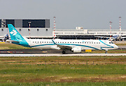 Air Dolomiti, Embraer ERJ-195. Photographed at Linate airport, Milan, Italy