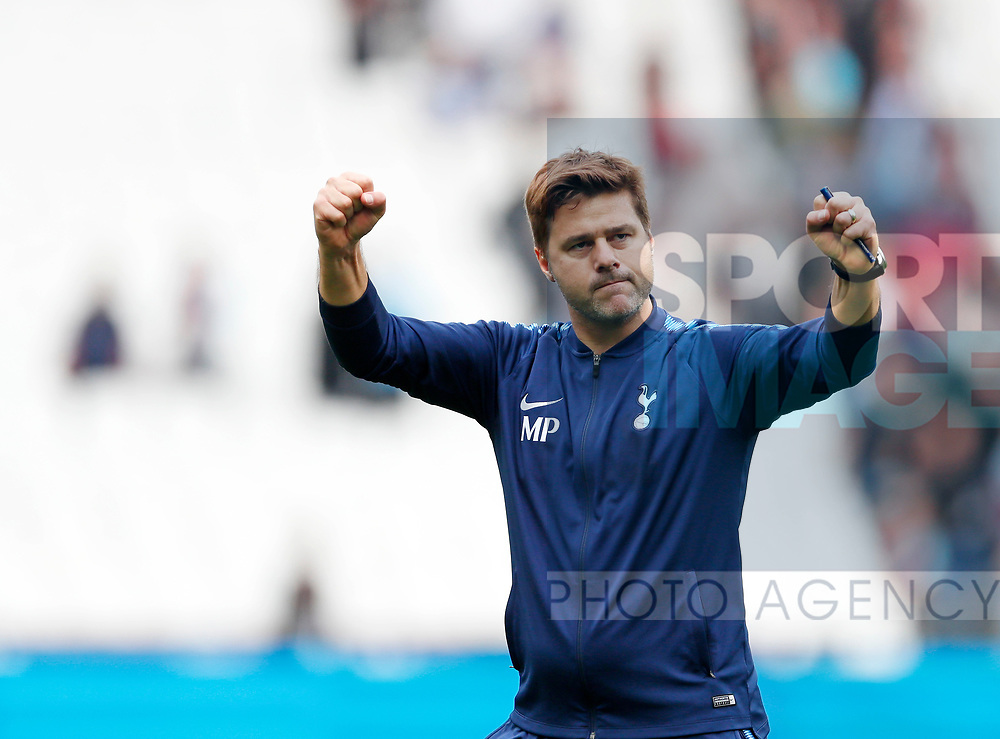 Tottenham's Mauricio Pochettino celebrates during the premier league match at the London Stadium, London. Picture date 23rd September 2017. Picture credit should read: David Klein/Sportimage
