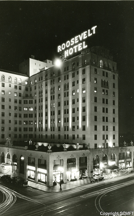 1927 Hollywood Roosevelt Hotel at night