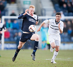 Falkirk's Mark Beck and Raith Rovers Laurie Ellis.<br /> Raith Rovers 2 v 4 Falkirk, Scottish Championship game today at Starks Park.<br /> © Michael Schofield.