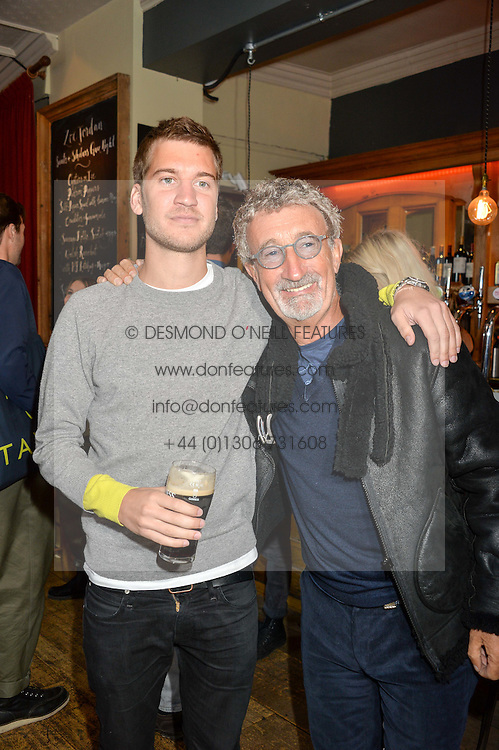 Left to right, KYLE JORDAN and his father EDDIE JORDAN at a quiz night hosted by Zoe Jordan to celebrate the launch of her men's ZJKNITLAB collection held at The Larrick Pub, 32 Crawford Place, London on 20th April 2016.