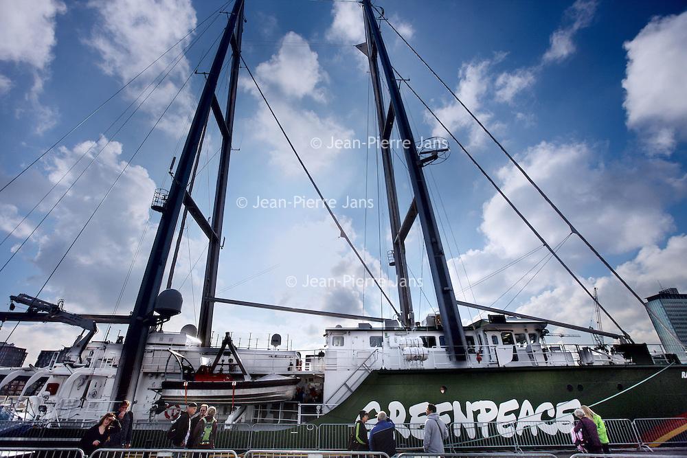 Nederland, Amsterdam , 31 oktober 2011..Het nieuwe Greenpeace schip Rainbow Warrior ligt aangemeerd aan de Javakade.The new Rainbow Warrior of Greenpeace at the Javakade in Amsterdam.