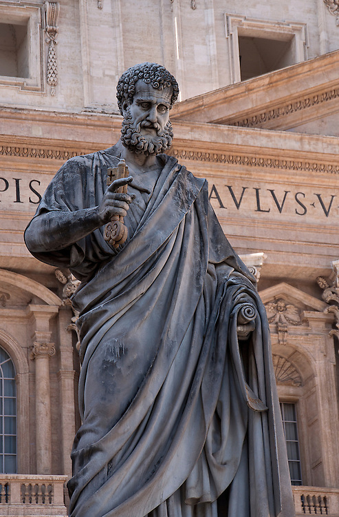 Statue with in the walls of the Vatican City.