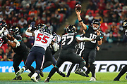 Jacksonville Jaguars quarterback, Gardner Minshew (15) throws a pass intercepted by Houston Texan's strong safety, Jahleel Addae (37) (not pictured) during the NFL game between Houston Texans and Jacksonville Jaguars at Wembley Stadium in London, United Kingdom. 03 November 2019