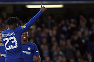 Michy Batshuayi of Chelsea celebrating after scoring his teams fourth goal. Carabao Cup 3rd round match, Chelsea v Nottingham Forest at Stamford Bridge in London on Wednesday 20th September 2017.<br /> pic by Steffan Bowen, Andrew Orchard sports photography.
