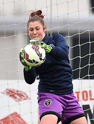 Bristol Academy's Mary Earps warms up before the FA Women's Super League game between Bristol Academy Women and Chelsea Ladies on 2 April 2015 in Bristol, England - Photo mandatory by-line: Paul Knight/JMP - Mobile: 07966 386802 - 02/04/2015 - SPORT - Football - Bristol - Stoke Gifford Stadium - Bristol Academy Women v Chelsea Ladies - FA Women's Super League