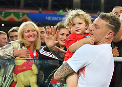 Kieran Trippier of England with his wife Charlotte Trippier and their son Jacob Trippier attending the 1/8 Final Game between Colombia and England at the 2018 FIFA World Cup in Moscow, Russia on July 3rd, 2018. Photo by Christian Liewig/ABACAPRESS.COM