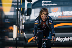 Elisa Longo Borghini finds a quiet spot between the motorhomes to warm up - Ronde van Drenthe 2016, a 138km road race starting and finishing in Hoogeveen, on March 12, 2016 in Drenthe, Netherlands.