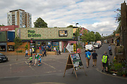 Pop Brixton on 23rd July 2015 in South London, United Kingdom. Pop Brixton is a community project, event venue and area of independent community retailers, restaurants, street food, startups and social enterprises