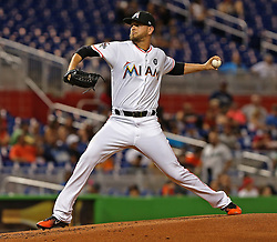 May 30, 2017 - Miami, FL, USA - Miami Marlins pitcher Justin Nicolino throws in the second inning against the Philadelphia Phillies at Marlins Park in Miami on Tuesday, May 30, 2017. The Marlins won, 7-2. (Credit Image: © Patrick Farrell/TNS via ZUMA Wire)