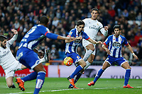 Real Madrid´s Cristiano Ronaldo and Deportivo de la Coruna´s Juanfran during 2015/16 La Liga match between Real Madrid and Deportivo de la Coruna at Santiago Bernabeu stadium in Madrid, Spain. January 09, 2015. (ALTERPHOTOS/Victor Blanco)
