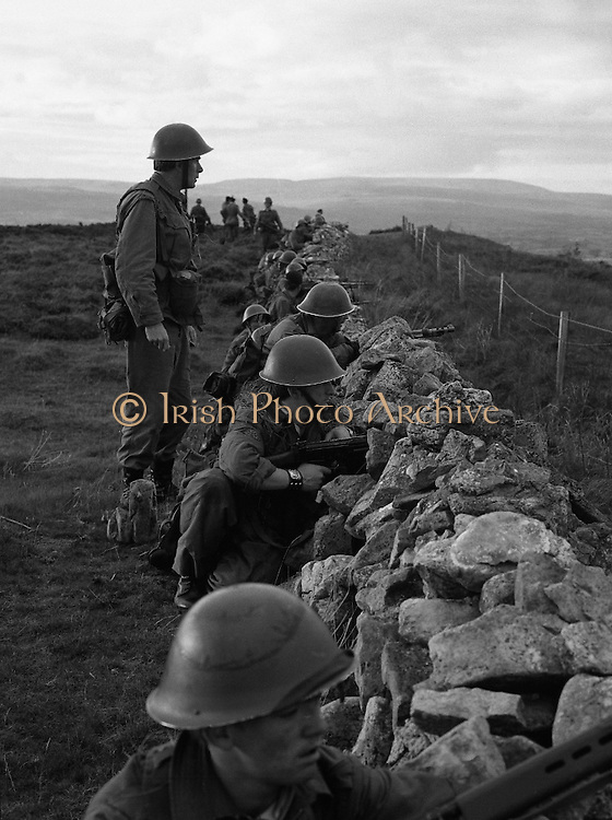 """Army Exercises In Co Sligo.   (L37).<br /> 1977.<br /> 05.09.1977.<br /> 09.05.1977.<br /> 5th September 1977.<br /> The Army Reserve Brigade, which is made up of regular units from the Southern Command, are conducting a series of conventional military exercises in counties Mayo and Sligo from the 5th to the 9th September. Approximately 1,500 men and 250 vehicles are involved. The exercise was codenamed """"Humbert"""" after an ill fated expedition by French troops into Ireland on 23rd August 1798. 1,100 French troops with Irish support took on the incumbent English forces. After some initial success they were defeated at Ballinamuk on 8th Sept 1798 by the army of Cornwallis.<br /> <br /> Troops from the 4th Infantry Batallion take up defensive positions to combat any counter attack."""
