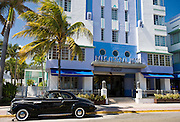 Americana - Old Buick Eight Classic sedan and gangster driver at Park Central Hotel, Ocean Drive South Beach Miami USA