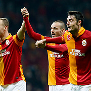 Galatasaray's players celebrate victory during their Turkish Super League soccer match Galatasaray between MP Antalyaspor at the TT Arena Stadium at Seyrantepe in Istanbul Turkey on Sunday 10 February 2013. Photo by TURKPIX