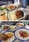 Airline Food: Economy Vs. First Class <br /> <br /> What used to be a woman's size 12 in 1968 is a woman's size 4 today; what used to be third-class is economy-class today. What changed? We've grown more sensitive: I'm not overweight, I still fit into a size 12. I'm not a third-class passenger, I'm a price conscious individual that rides in economy-class.<br /> Despite the name games, airline food hasn't changed much. Economy class meals still come in a wrapper, and business or first-class meals come with real cutlery. This list shows the sometimes striking difference between what the different classes eat.<br /> <br /> Photo shows: Air China<br /> ©Exclusivepix Media