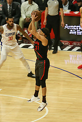 December 17, 2018 - Los Angeles, CA, U.S. - LOS ANGELES, CA - DECEMBER 17:Portland Trail Blazers Guard Seth Curry (31) shooting a jumper during the Portland Trail Blazers at Los Angeles Clippers NBA game on December 17, 2018 at Staples Center in Los Angeles, CA.. (Photo by Jevone Moore/Icon Sportswire) (Credit Image: © Jevone Moore/Icon SMI via ZUMA Press)