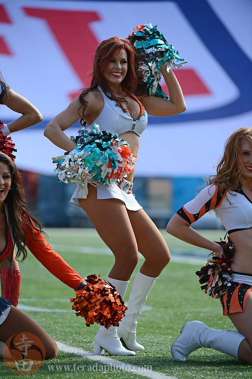 January 26, 2013; Honolulu, HI, USA; Miami Dolphins cheerleader Amy Madill performs during the AFC practice on Ohana Day at the 2013 Pro Bowl.