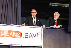 "© Licensed to London News Pictures . 22/09/2018. Bolton, UK. DAVID DAVIS listens to Kate Hoey's speech from a balcony . Pro Brexit campaign group Leave Means Leave host a "" Save Brexit "" and "" Chuck Chequers "" rally at the University of Bolton Stadium , attended by leave-supporting politicians from a cross section of parties , including Conservative David Davis , former UKIP leader Nigel Farage and Labour's Kate Hoey . Photo credit: Joel Goodman/LNP"