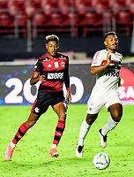 SAO PAULO, BRAZIL - FEBRUARY 25: Bruno Henrique of CR Flamengo competes for the ball with Luan of Sao Paulo FC ,during the Brasileirao Serie A 2020 match between Sao Paulo FC and CR Flamengo at Morumbi Stadium on February 25, 2021 in Sao Paulo, Brazil. (Photo by MB Media/BPA)