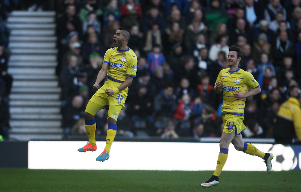 Sheffield Wednesday's Lewis McGugan celebrates scoring his sides first goal <br /> <br /> Photographer Jack Phillips/CameraSport<br /> <br /> Football - The Football League Sky Bet Championship - Derby County v Sheffield Wednesday - Saturday 21st February 2015 - iPro Stadium - Derby<br /> <br /> © CameraSport - 43 Linden Ave. Countesthorpe. Leicester. England. LE8 5PG - Tel: +44 (0) 116 277 4147 - admin@camerasport.com - www.camerasport.com