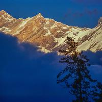 Annapurna and Fang from Kali, Gandaki gorge, Nepal, Himalaya
