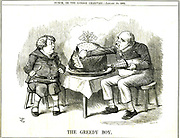 The Greedy Boy' cartoon by John Tenniel from 'Punch' London, 10 January 1885 commenting on Germany's colonialism, and showing a young John Bull horrified at the greediness of the boy Otto Bismarck 'who seems to have a swallow that would startle Jonah's wh