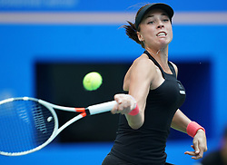 WUHAN, Sept. 28, 2018  Anett Kontaveit of Estonia returns a shot during the singles semifinal match against Wang Qiang of China at the 2018 WTA Wuhan Open tennis tournament in Wuhan, central China's Hubei Province, on Sept. 28, 2018. Anett Kontaveit advanced to the final after Wang Qiang withdrew due to injury. (Credit Image: © Cheng Min/Xinhua via ZUMA Wire)