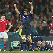 Julien Pierre, France, (centre) celebrates after his sides victory  during the Wales V France Semi Final match at the IRB Rugby World Cup tournament, Eden Park, Auckland, New Zealand, 15th October 2011. Photo Tim Clayton...