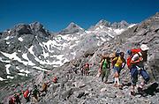 SPAIN, NORTH COAST, ASTURIAS Cantabrian Mountains and the 'Picos de Europa' near Fuente De; a favorite destination for hikers and climbers