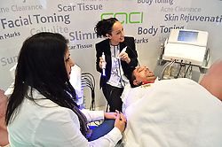 © Licensed to London News Pictures. 28/03/2016. A male visitor receives non surgical facial treatment from the CACI treatment stand at The Professional Beauty Show. The show is the largest in the UK and one of the largest in Europe. London, UK. Photo credit: Ray Tang/LNP