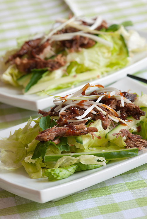 Crispy duck in hoisin sauce with lettuce and cucumber