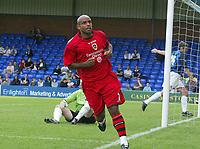 Photo: Paul Greenwood.<br />Stockport County v Cardiff City. Coca Cola Championship. 28/07/2007.<br />Cardiff's Trevor Sinclair celebrates scoring his goal