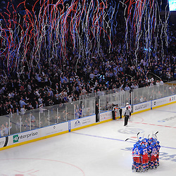 May 7, 2012:  The New York Rangers celebrate their overtime victory in game 5 of the NHL Eastern Conference Semi-finals between the Washington Capitals and New York Rangers at Madison Square Garden in New York, N.Y.