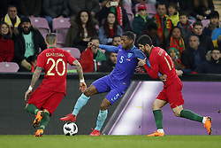 (L-R) Ricardo Quaresma of Portugal, Georginio Wijnaldum of Holland, Goncali Guedes of Portugal during the International friendly match match between Portugal and The Netherlands at Stade de Genève on March 26, 2018 in Geneva, Switzerland