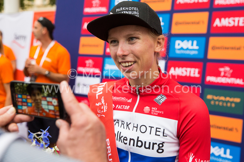 London, UK. 3 August, 2019. Lorena Wiebes of Parkhotel Valkenburg is interviewed after winning the Prudential RideLondon Classique. The Classique, which is the richest one-day women's race in the world, covers 20 laps of a tight circuit of 3.4 kilometres around St James's Park and Constitution Hill.